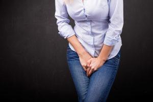 Woman who needs to pee